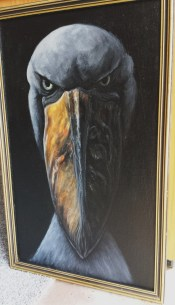 """ShoeBill, Here's Lookin' at You Kid"" KJagoe 2017. acryilc on canvas board."